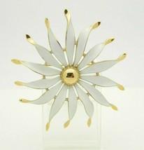 Crown Trifari White Enamel Large Flower Gold Tone Brooch Mid Century - $39.59