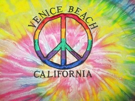 Hanes VENICE BEACH Size 2XL T-SHIRT Peace RAINBOW Embroidered TIE-DYE Su... - $23.83