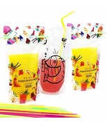 Kamenia 100pcs Reusable Drink Pouches with Straws, Zipper Plastic Bags, ... - $20.02
