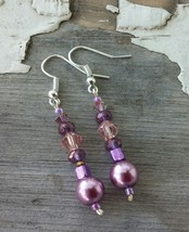 Vintage Inspired Handmade Dangle Drop Earrings/Purple Pearl & Crystals/S... - $23.00