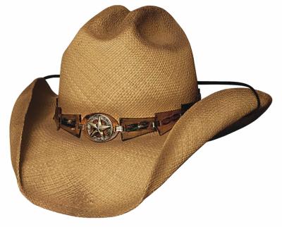 Bullhide Star Central Panama Straw Cowboy Hat Star Concho Black Natural