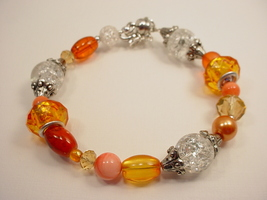 Bracelet with Large Hole, Glass and Stone Tangerine, Peach, Topaz and Cl... - $35.00