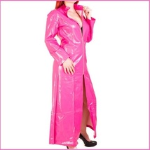 "Pink Shiny ""Wet Look"" Faux Latex Leather Zip Up Long Trench Rain Coat Jacket"