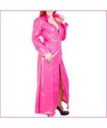"Pink Shiny ""Wet Look"" Faux Latex Leather Zip Up Long Trench Rain Coat Ja... - £80.36 GBP"