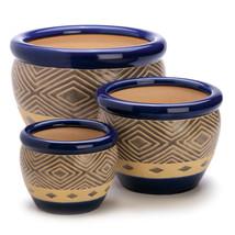 Patio Planters, Ceramic Planter Pots, Ceramic Contemporary Cobalt Plante... - $53.58