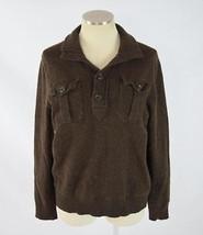 GAP Dark Brown Wool Blend Knit Pockets Henley Jumper Sweater Shirt Mens Sz S - $24.74