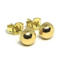 Yellow Gold Earrings 750 18K, Half Sphere, Diameter 8 MM image 1