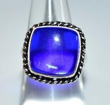 VTG .925 Sterling Silver Dark Blue Glass Cabochon Ring Size 6.75 (B) - $39.60