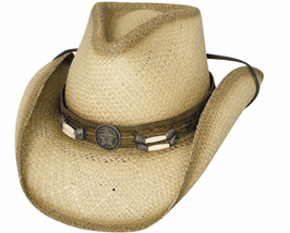 Bullhide Dundee Panama Straw Cowboy Cowgirl Hat Pinchfront Barrel Beads ... - $65.00