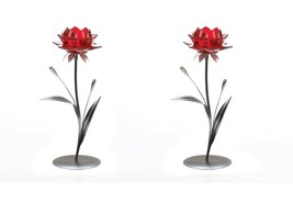 "2 Single Red Flower on Leafy Stem Tealight Candle Holders 12.5"" High - $35.45"