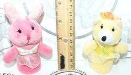 2 PIECE LOT PRINCESS BUNNY + BEAR FINGER PUPPETS PLUSH ANIMAL TOY FIGURE... - $9.94