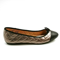 Lands' End Women Brooklyn Quilted Accent Bow Ballet Flats Pewter Metallic 10D - $32.66