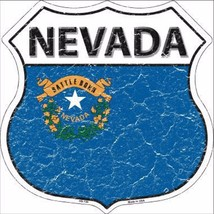"Nevada State Flag Distressed 11"" x 11"" Novelty Highway Shield Metal Sign - $9.95"