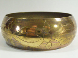 Vintage Embossed Brass Bangle Bracelet Wide Flowers Floral Great Patina ... - $17.81