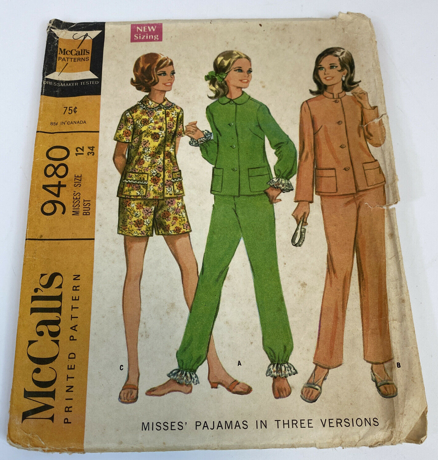 Primary image for McCalls Vintage Sewing Pattern 9480 1960's Size 12 Bust 34 Pajamas 3 Ways RARE