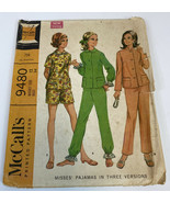 McCalls Vintage Sewing Pattern 9480 1960's Size 12 Bust 34 Pajamas 3 Way... - $17.85