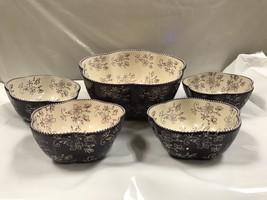 Temp-Tations  5 Piece Pasta Bowl Set Floral Purple - ₹3,598.13 INR