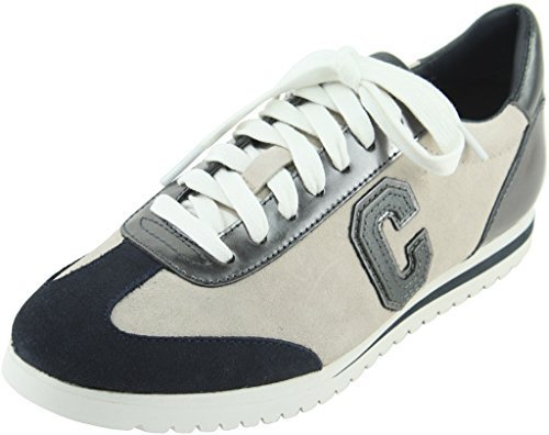 Coach Womens Ian Mirror Metallic Sudee Midnight Navy Chalk Lace-Up Sneakers 7 B