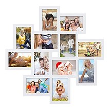 Adeco PF0205 PF0205 White Wood 12 Openings Wall Collage Picture Frame, 4... - £29.82 GBP