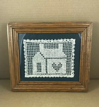 "Filet Crochet Art Work ""Home Is Where The Heart Is"" 11"" X 12"" Wood Frame... - $30.77"