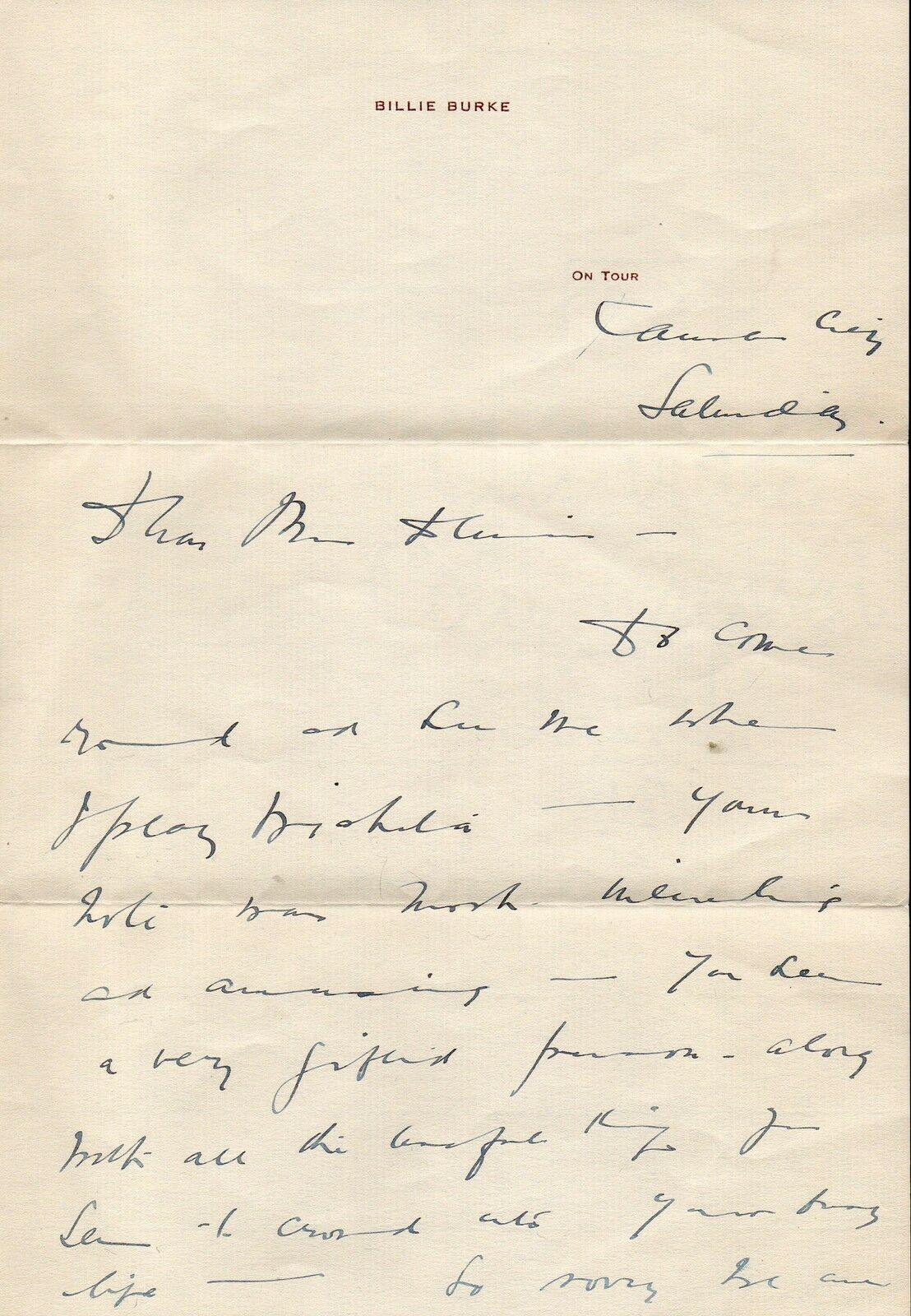 BILLIE BURKE Handwritten and signed letter. Nice autograph. The Wizard of Oz