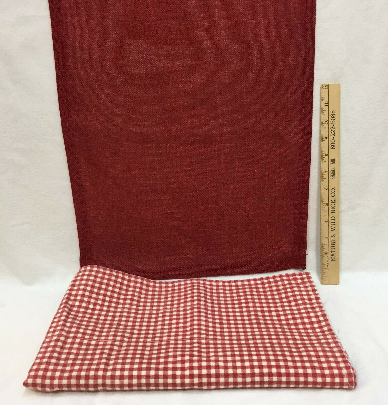 "Primary image for Red Table Runner Burlap Like Fabric 70"" Long & Valance Red & White Checkered"