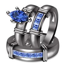 Mens Womens Wedding Blue Sapphire Trio Ring Set 14k Black Gold Finish 925 Silver - $168.99