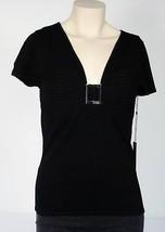 Bcbg Max Azria Black Top Shirt Blouse Womans Medium M NWT $140 - $74.24