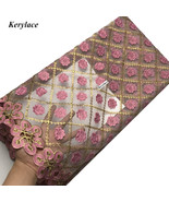 Pink African Lace Fabric Embroidered Tulle French Lace Swiss Voile Weddi... - $79.99