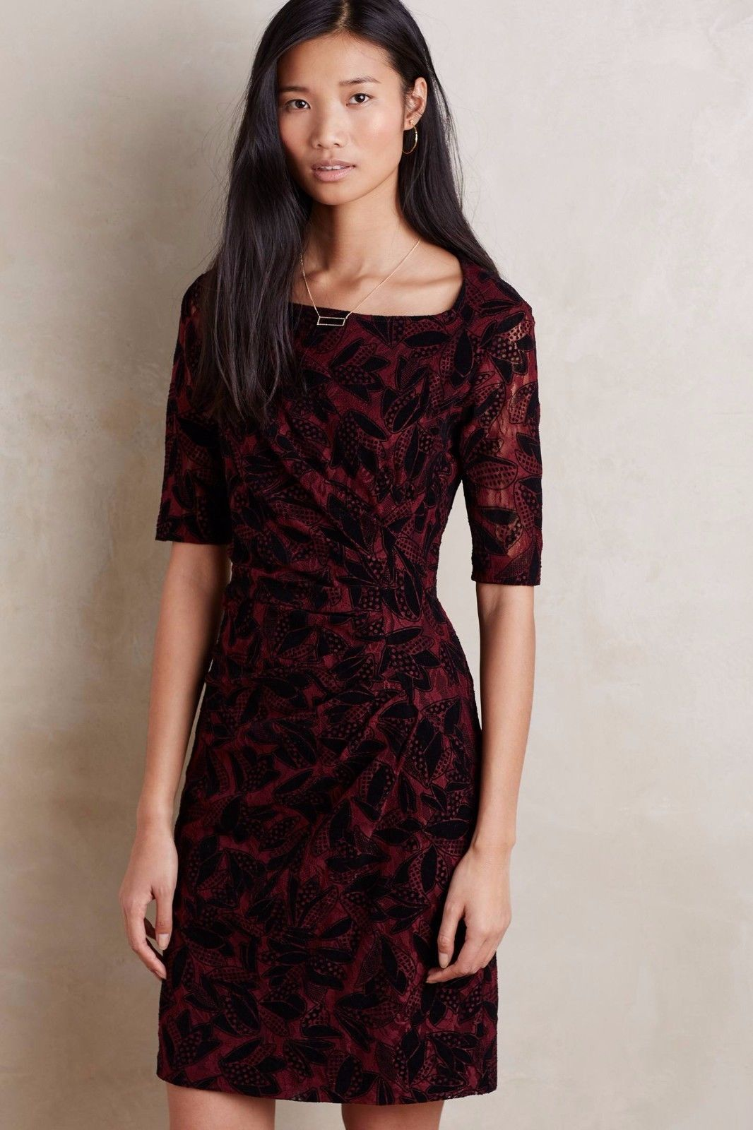 Primary image for NWT ANTHROPOLOGIE ELORN WINE DRESS by MAEVE 4