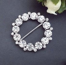 "1-3/4"" 45mm wide - 2 pc Round Clear White Rhinestone Clasp Buckle Closur... - $11.99"