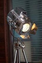 1960 's Vintage Designer Theater Search Light Tripod Floor Lamp Chrome Finish   - $299.00