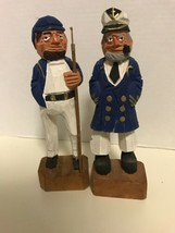 Vintage Nautical 8in Hand Craved Wooden Captian And Sailor Fisherman Fol... - $21.49