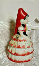 VINTAGE BELL FLAMBRO PORCELAIN BISQUE SPANISH FLAMENCO DANCER WOMAN BELL image 3