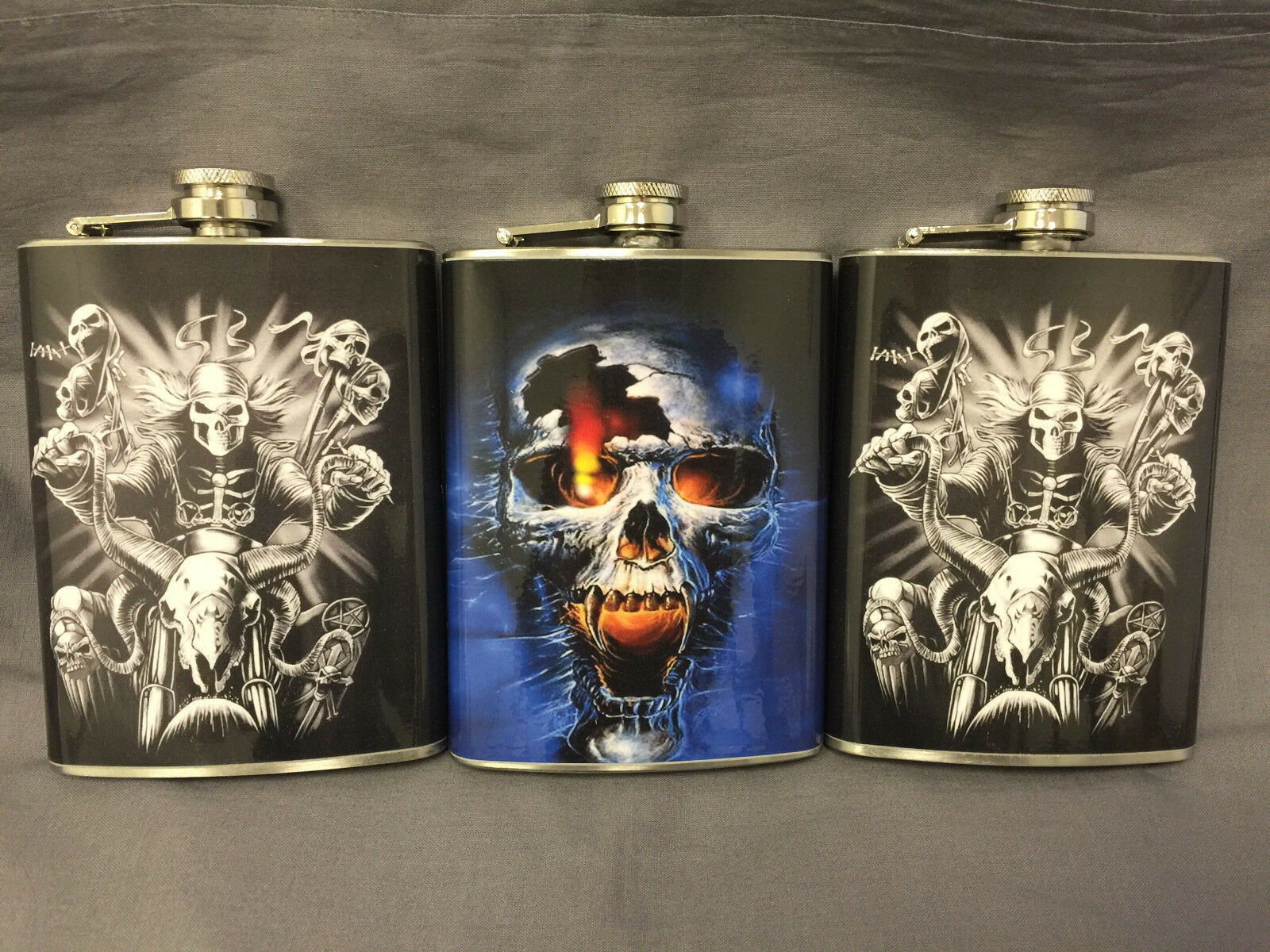 Set of 3 Skulls D 5 & D7 Flask 8oz Stainless Steel Hip Drinking Whiskey