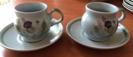 Thistleware Stoneware Buchan Scotland 2 Flat Cups Ear Handles & Saucers ... - $23.38