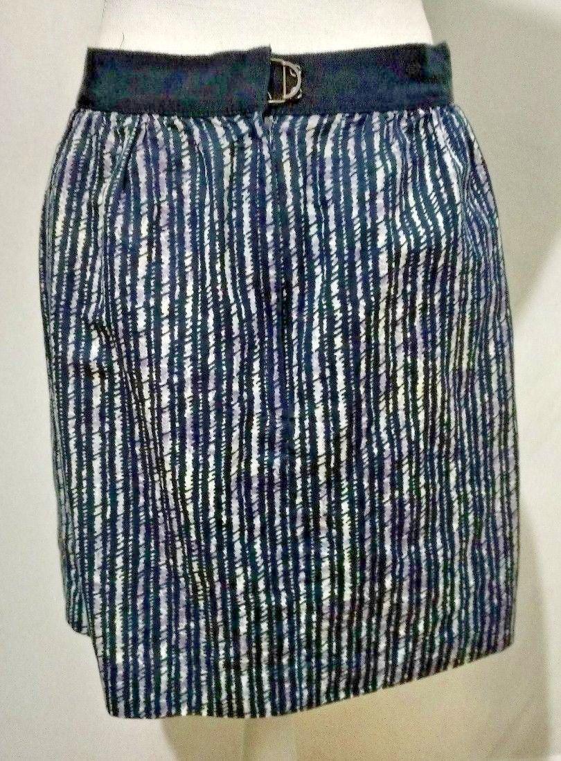Ann Taylor Loft Straight Pencil Skirt Size 6 Dark Blue Geometric Pattern Unlined