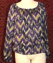MICHAEL KORS purple polyester long sleeve blouse M (T47-01C8G) image 3