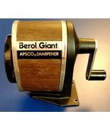 Vintage Berol Giant Apsco Pencil Sharpener Hand Crank  6 Hole Wood Veneer  - $12.86