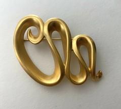 Anne Klein Brushed Gold Tone Satin Finish Modernist Brooch Pin Vintage S... - $23.72