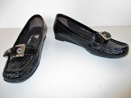 Stuart Weitzman Wedge Heel Loafers Shoes 6.5M Women black patent leather - $54.44