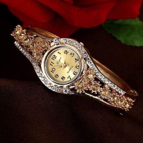 Women Rhinestone Wrist Watches Luxury Fashion Stainless Steel Quartz Watch Brace