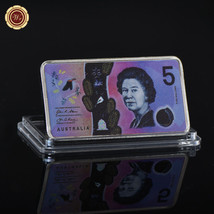 WR Australia 2016 Banknote 5 Dollars Colored Silver Clad Bar Collector I... - $4.48