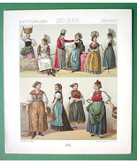SWITZERLAND Costume of Swiss Women - 1888 COLOR Print A. Racinet - $9.79