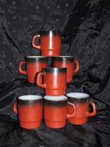 VINTAGE RED BLACK FIRE KING ANCHOR HOCKING STACKING COFFEE MUGS CUPS  - $45.00
