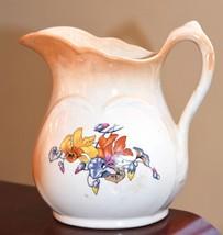 "Victorian Art Nouveau Ceramic Pitcher Nasturtium Floral Air Brush Lustre 8"" H - $39.99"