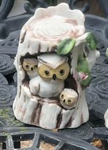 Vintage Owl Family-Mom, Dad And Owlets in Tree Trunks Ceramic Matching Set Of 2 image 3
