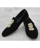 New Handmade Men's Black Velvet Golden Embroidered Slip Ons Loafer Shoes - $129.99+