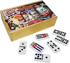 Dominoes Double Nine. Spinner tiles with engraved Cuban Flag. retro deco... - $44.17