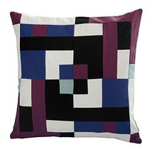 Black Temptation [Vortex] Handmade Canvas Decorative Pillow Unique Grid Cushion  - $38.50